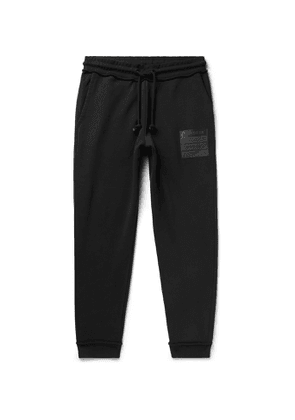 Maison Margiela - Tapered Leather-Appliquéd Organic Loopback Cotton-Jersey Drawstring Sweatpants - Men - Black