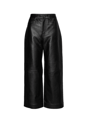 High-rise leather pants