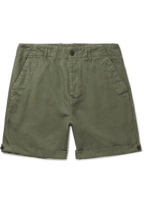 Mr P. - Garment-Dyed Peached Cotton and Linen-Blend Twill Shorts - Men - Green