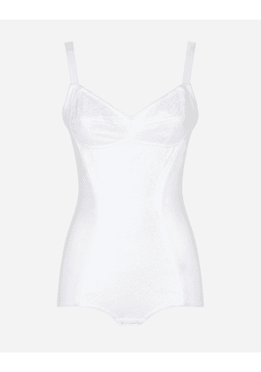Dolce & Gabbana Underwear - SHAPER CORSET BODYSUIT IN LACE AND JACQUARD WHITE female 48