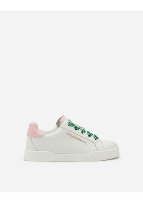 Dolce & Gabbana Shoes (24-38) - PORTOFINO LIGHT SNEAKERS IN NAPPA LEATHER WITH JUNGLE LACES WHITE/PINK female 29