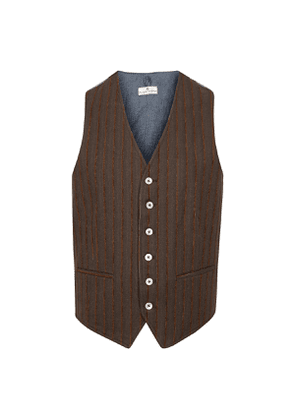 Dark Brown Striped Cotton Waistcoat