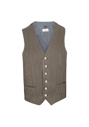 Black and Beige Striped Waistcoat