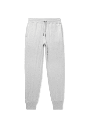 TOM FORD - Tapered Melangé Cotton, Silk and Cashmere-Blend Sweatpants - Men - Gray