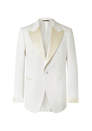 TOM FORD - Slim-Fit Satin-Trimmed Wool and Mohair-Blend Tuxedo Jacket - Men - Neutrals