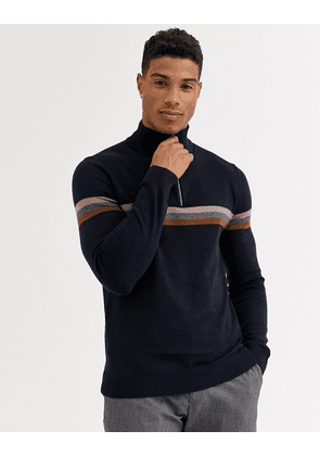 Ted Baker merino half zip jumper with stripe in navy