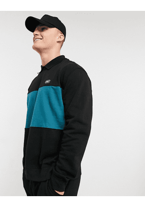 New Look colour blocked sweat with collar in black
