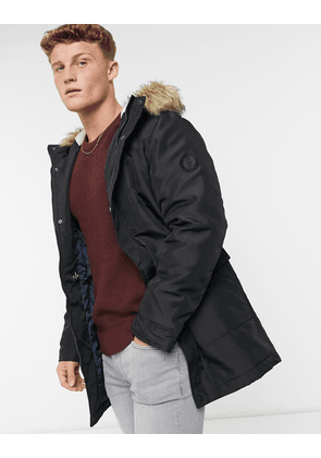 Only & Sons parka with borg lined hood and removable faux fur trim in black