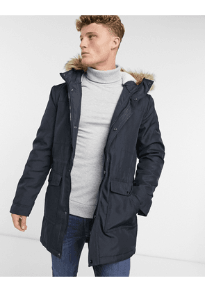 Only & Sons parka with borg lined hood and removable faux fur trim in navy