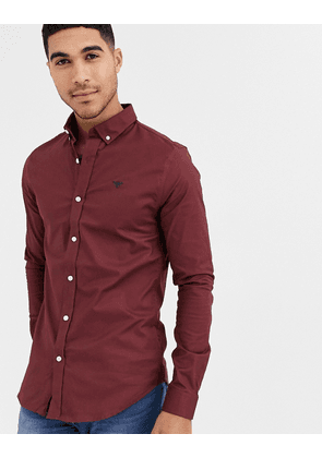 New Look muscle fit oxford shirt in burgundy-Red