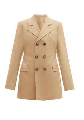 Connolly - Double-breasted Longline Wool-blend Jacket - Womens - Beige
