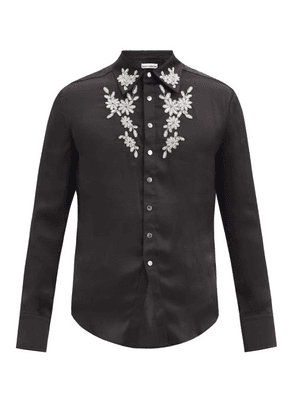Paco Rabanne - Beaded Floral-embroidered Satin Shirt - Mens - Black