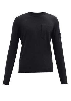 Stone Island Shadow Project - Logo-patch Wool-blend Sweater - Mens - Black