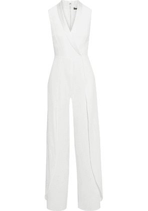 Alice + Olivia Bebe Wrap-effect Satin-trimmed Crepe Wide-leg Jumpsuit Woman White Size 4