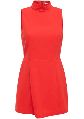 Alice + Olivia Zip-detailed Crepe Playsuit Woman Tomato red Size 0