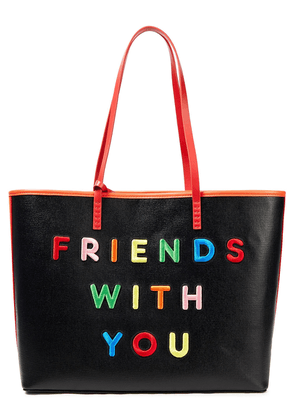 Alice + Olivia Leather-trimmed Embroidered Cotton-canvas Tote Woman Black Size --