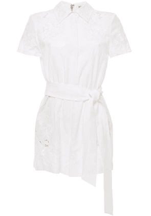 Alice + Olivia Lace-paneled Belted Twill Playsuit Woman White Size 0