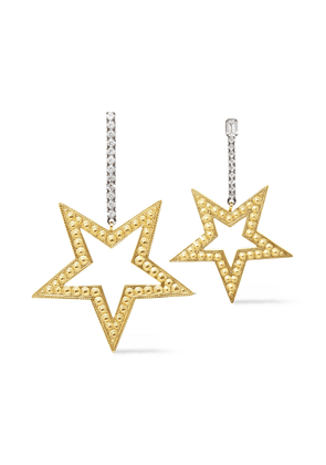 Elizabeth Cole 24-karat Gold-plated, Hematite-plated And Crystal Earrings Woman Gold Size --