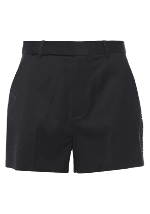 Equipment Jeannine Embroidered Wool-twill Shorts Woman Black Size 12