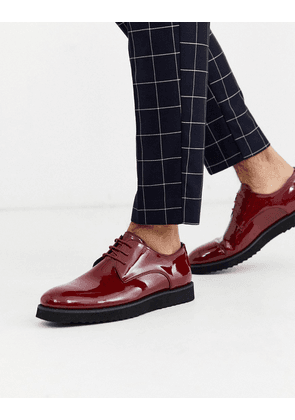 Truffle Collection brogue lace up in red-Black