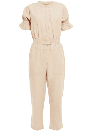 Joie Cropped Ruffle-trimmed Woven Jumpsuit Woman Sand Size M