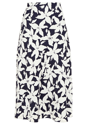 Joie Floral-print Crepe De Chine Midi Skirt Woman Midnight blue Size 4