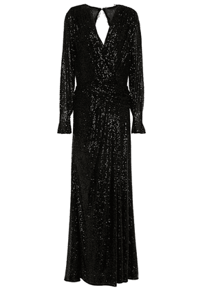 Jonathan Simkhai Wrap-effect Sequin-embellished Stretch-tulle Gown Woman Black Size 8