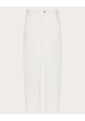 Valentino Uomo Baggy Fit Pants In Mixed Materials Man White Cotton 100% 44