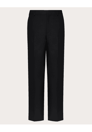 Valentino Uomo Straight Fit Pants With Valentino Embroidery Man Black Polyester 65%, Viscose 35% 48