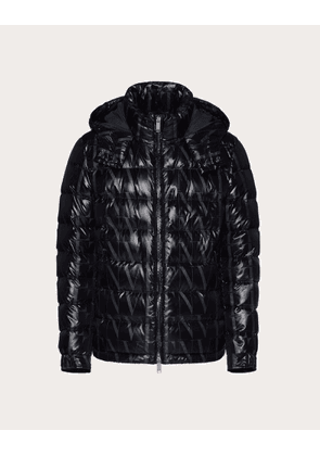 Valentino Uomo Down Jacket With All-over Vltn Times Print Man Black 100% Poliammide 44