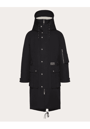 Valentino Uomo Vltn Tag Parka With Shearling Lining Man Black/ivory Cotton 82%, Polyester 18% 52
