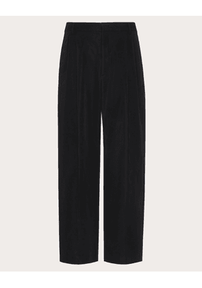 Valentino Uomo Loose Fit Pants With Valentino Embroidery Man Black Polyester 50%, Cotton 50% 44