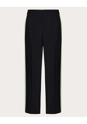 Valentino Uomo Mohair Wool Pants With Contrasting Stripes Man Black/multicolor Wool 84%, Mohair 16% 44