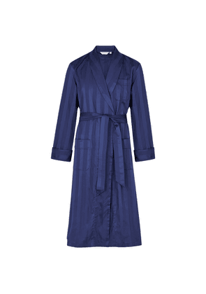 Derek Rose Lingfield Navy Striped Cotton Robe