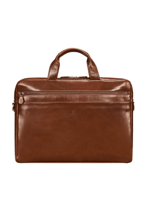 Maxwell Scott Bags Mens Quality Tan Brown Leather Laptop Bag With Trolley Sleeve
