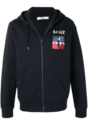 Bally chest-logo zip-up hoodie - Blue