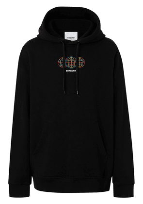 Burberry embroidered globe cotton hoodie - Black