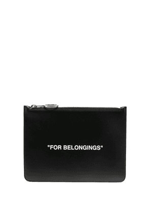 Off-White quote-print clutch bag - Black