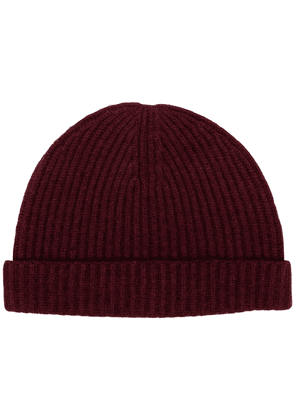 N.Peal ribbed-knit cashmere beanie - Red