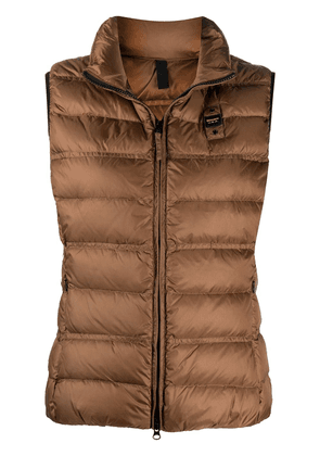 Blauer logo-patch feather down gilet - Brown