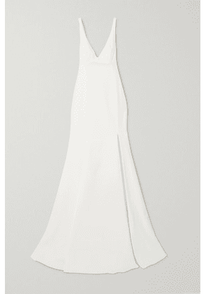 Rime Arodaky - Enola Tie-detailed Open-back Embroidered Tulle And Crepe Gown - White