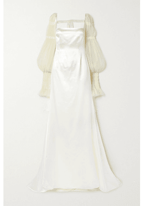 Danielle Frankel - Ruby Tulle-trimmed Wool And Silk-blend Satin Gown - Ivory