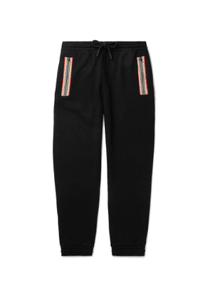 Burberry - Tapered Webbing-Trimmed Loopback Cotton-Jersey Track Pants - Men - Black