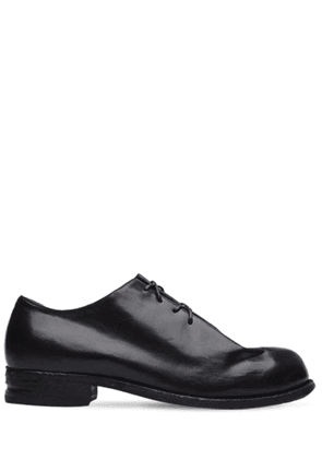 Folded Leather Oxford Lace-up Shoes
