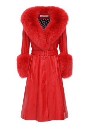Belted Leather Coat W/ Fox Fur