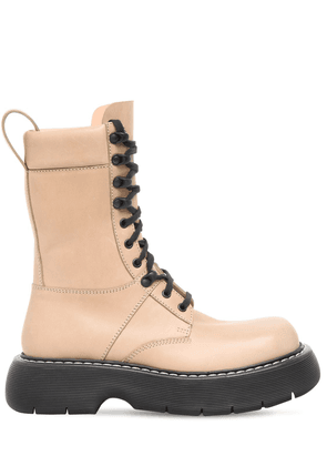 35mm Brushed Leather Combat Boots