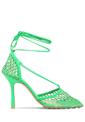 90mm Mesh & Leather Lace-up Pumps