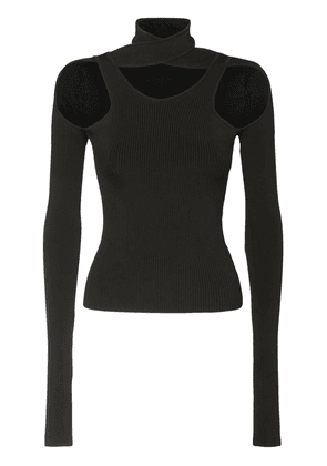 Cut Out Knit Turtleneck Top