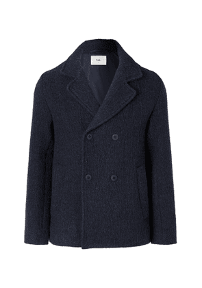 Folk - Double-Breasted Brushed Wool and Cotton-Blend Peacoat - Men - Blue