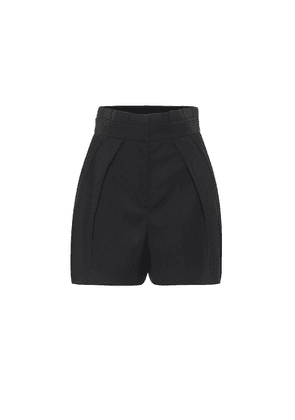 Virgin wool high-rise shorts